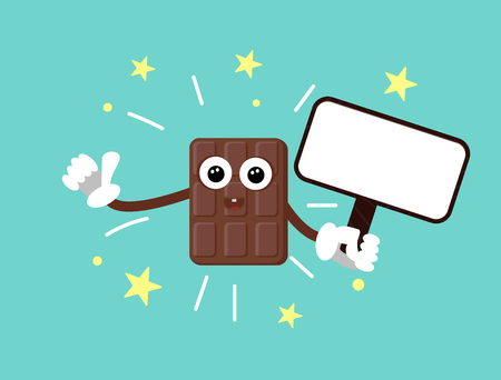 Funny chocolate bar with eyes and hands in gloves. Shows thumb up and holds a wooden sign with white blank for text. Blue background and yellow stars. Vector illustration sticker sweets. Cool cartoon chocolate. Print for t-shirt or mug