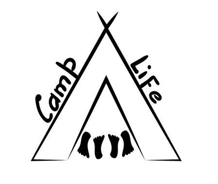 Tent and four heels. Inscription Kemp Life. Vector illustration in linear style. Minimalistic black and white print to print a mug, clothes, road emblem on the glass.  Silhouette of wigwam or tipi for tourist sticker, poster
