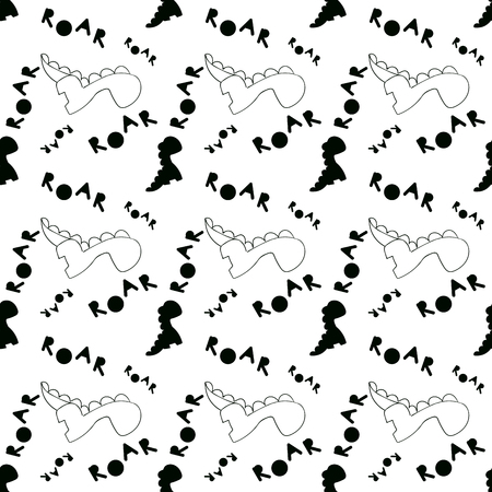 Monochrome Dino pattern. Black and white seamless tile with contour dinosaurs and letter in scandinavian style. Vector Dino print textile, fabric. Illustration card with for poster, clothes, nursery decor, baby shower. Backdrop or wall art
