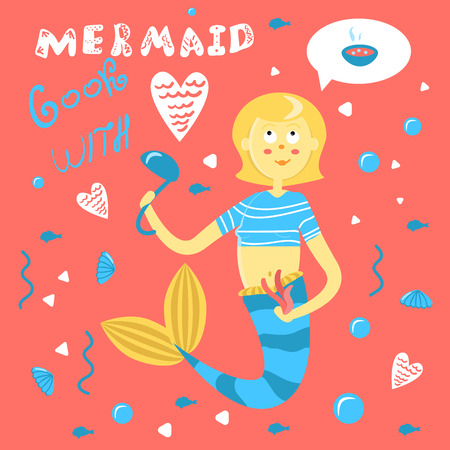 Mermaid cooks with love. Funny inscription on the underwater life. Cute character mother mermaid with ladle cooks soup. Funny card with a woman siren. Blonde with a blue with a tail on a coral background. Bubbles and heart for print and poster doodle Vettoriali