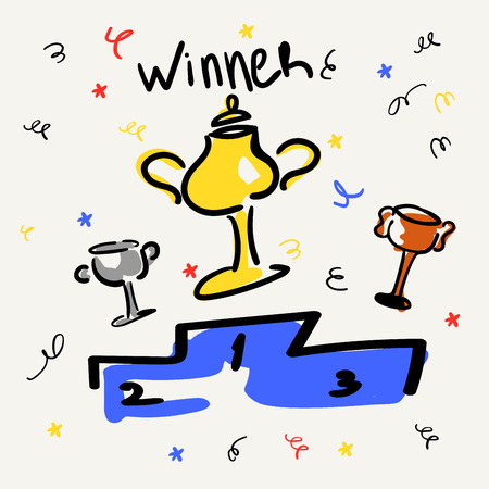 Cups on the pedestal. Gold, silver, bronze. Business and sports victories. Vector illustration in the style of sketch or doodle. Confetti and serpentine. Championship, achievement. Inscription winner. Funny hand line drawings and careless color spots
