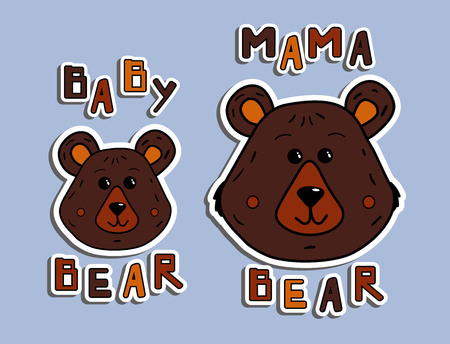 Stickers mother bear and little bear. Pattern for printing on clothes, T-shirt or mug. Vector illustration with the inscription mama bear and baby bear. Print design for mother's day cards. Head Cartoon Character Wild Animal. Wood land. Cute letter for invation, poster