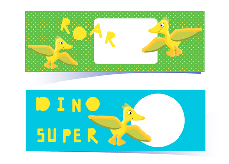 Dino cover. Yellow Pterodactyl and the inscription roar, super dino. Print banner or blog design. With space for text. Green to dot and blue background. Vector illustration of colorful cartoon dinosaurs. scrapbooking