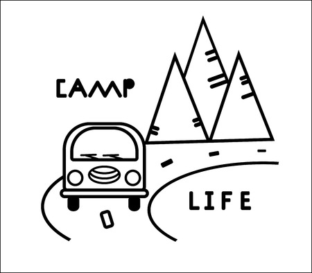 Bus, road and mountains. Stylized black and white contours illustration. Vector concept for logo, shirt, stamp. Card print for typography. Sticker on auto glass. Travel emblem, tourist badge. Camper silhouette for poster, wall decal
