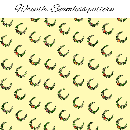 Seamless pattern with festive wreaths. Branches and flower. Funny drawing in the style of a sketch. Vector illustration for design of cards, a booklet about sports. Backdrop for blog site. Laurel, olive, green wreath.