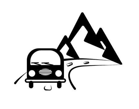 The bus goes to the mountains. Graphic wall sticker. Road label. Monochrome illustration for print poster, stickers on cars. Travel emblem about travel. Transport card silhouette vector isolated on white background. Design for fabric