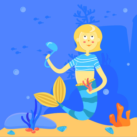 Cartoon mermaid with soup ladle and algae. Character on the background of the sea landscape. Underwater illustration. Siren is a blonde with a blue tail striped shirt. Funny card. Vector. Pensive cook. Poster, print for fabric. Ocean life