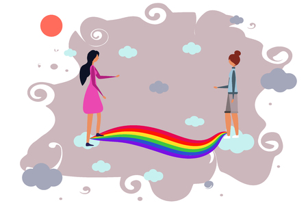 Female walk along the rainbow towards each other. Meet In heaven. LGBT community. Human rights choose relationships. LGBTQ. Vector illustration of a flat style. Character woman meets on the rainbow lo  イラスト・ベクター素材