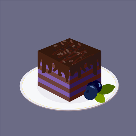 Blueberry cake with layers of dark biscuit, topped with chocolate. It stands on a white round plate. Ripe large blueberries with green leaves. For icon, interior decor, for websites, game design, menus, print card. Vector illustration purple jele