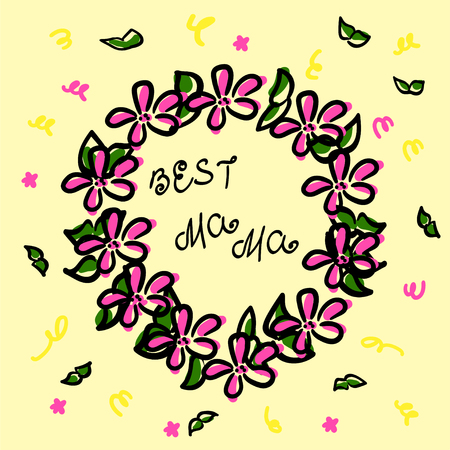 Wreath in sketch style. Black contour and pink color. Green Branches, confetti and the inscription best mama. Vector illustration doodle. Flowers for achievements. Family praise. Festive garland. Greeting card, serpentine and leaves