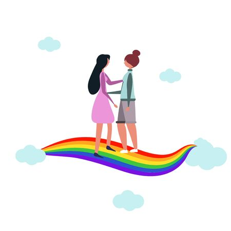 Women hugging. Lesbian couple. Meeting on the rainbow. Close ties. Homosexual romantic dates of partners. LGBT. Modern flat vector illustration. For blog, website, magazine design, booklet. Clouds, love, partners.