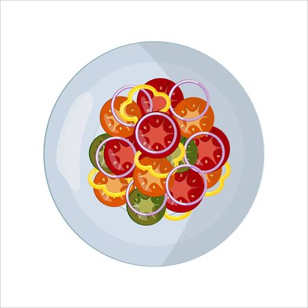 Isolated vector food images. Vegetable slices on a white plate. Red tomat, green cucumber, yellow pepper, white onion. For icons in the menu of cafes and restaurants, for web design, websites, landing pages, kitchen or dining room interior design.