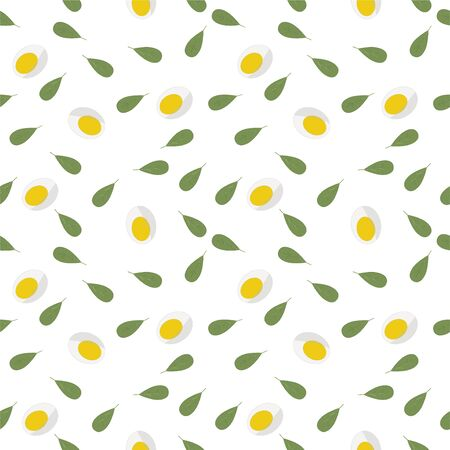 Keto diet. Seamless pattern of fresh Green lettuce, halved eggs. For blog background. Can be used as packaging for healthy foods, as wrapping paper, wall art, posters. Vector illustration for caffe, bakery. Tasty tile