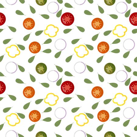 Seamless pattern of fresh Vegetable slices Red tomat, green cucumber, yellow pepper, white onion. Light background. Keto diet. Packaging for healthy foods, as wrapping paper, wallpaper, posters. Vector illustration