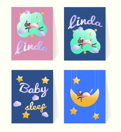 Birthday cards templates set with good night theme design. Design with pink Cat silhouette and phrase