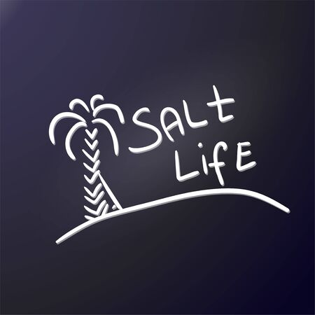 Tourist logo salt life. Sandy island, high palm tree, surfboard and phrase. The emblem of an active lifestyle, beach holidays, surfing. To create car sticker, poster for decorating cafe or camping, prints for t-shirt or clothes. Vector illustration