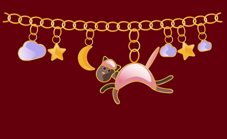 Gold necklace. Charm bracelet. Chain with yellow rings. Design with pink Cat star, night sky, cloud, moon. To create prints on children s clothing, textiles, fabrics, to decorate the interior of the children s room. Cartoon style