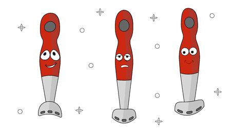 Cartoon household appliances set with three blenders with a red handle. Three emotions: joy, embarrassment, upset. To create icons, web design, landing pages, posters in cafes and restaurants. Vector  일러스트