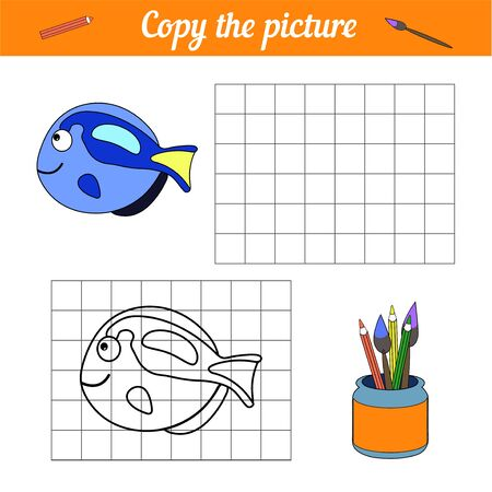 Fish coloring book Copy on the grid. With a sample of blue tang fish and bubbles. Leisure development. Game for children magazine. Cartoon Aquarium sea life. Page of the worksheet. vector illustration. repeat image