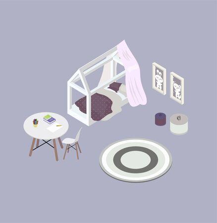 Isometrische Objekte für ein Kinderzimmer. Weißes Bett und lila Bettwäsche auf den Punkt. Runder Tisch und Stuhl. Bücher und Kardashi. Die Gemälde an der Wand. Teppich und Korb für Spielzeug. Zartes Interieur in rosa und grauen Farben. Vektor-Illustration