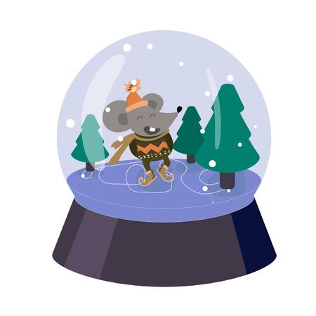 Funny mouse skates on ice. Snow globe with Christmas tree. Cartoon rat in sweater and orange hat. Carefree character for cards, posters, prints on fabric. Vector illustration. Winter entertainment.