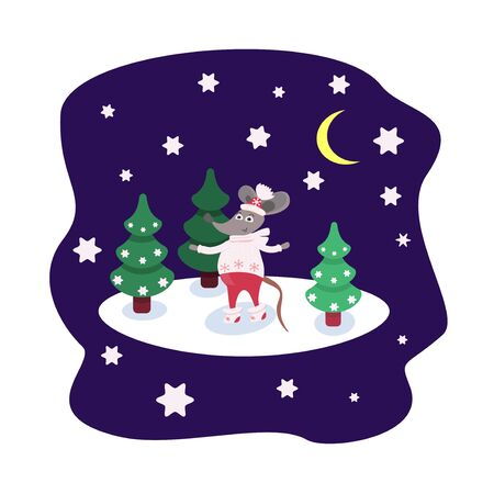 Cartoon character Rat in winter clothes stands on the snow among the Christmas trees. Card with a starry night and a forest. Cute mouse for printing on fabric or poster. Funny animal symbol of the year. Vector illustration Ilustração