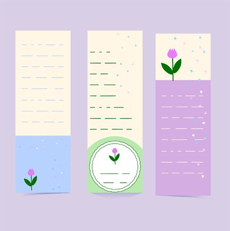 Vertical flyers or banners in delicate colors with butterflies and tulips. Set of bookmarks with place for text, message. Cute vector patterns. Bright illustrations for a festive decor. Simple pattern purple, blue, pale green colors