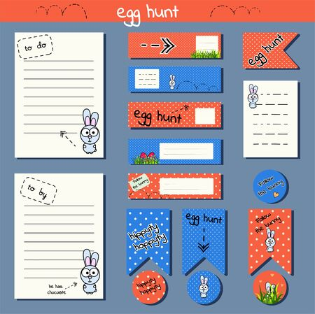 Set for creating a glider, easter party decoration, stickers, sheets, flags, scrapbooking. Funny cartoon rabbit. Bright orange and blue colors to the dote. Egg hunt. Vector illustration for print note. Sheet for a notebook, to do list