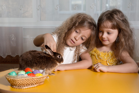 bunny girl: two sisters  play with the brown Easter Bunny. Next to them lay Easter eggs Stock Photo