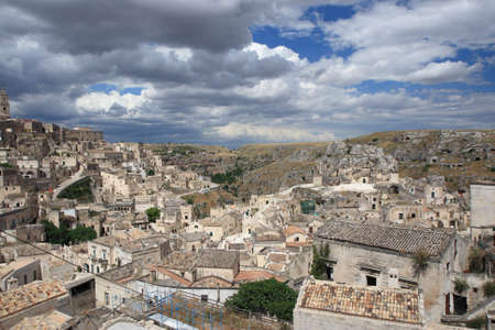 The town of Matera with the caracteristic building in the south of Italy photo