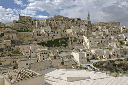 rupestrian: The town of Matera with the caracteristic building in the south of Italy