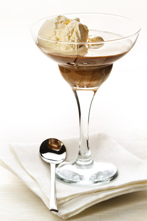 vanil: Ice-cream with coffee cocktail in glass Stock Photo