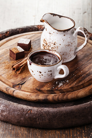 sprinkled: Hot chocolate sprinkled with white chocolate with spices