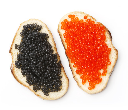 sandwiches with black and red caviar on white background photo