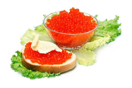 sandwiche: Sandwiche with red caviar on white background