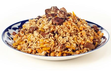 uzbek: Uzbek national dish pilaf on plate