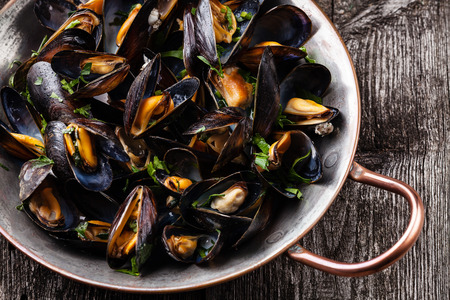 mussels: Boiled mussels in copper cooking dish on dark wooden background close up