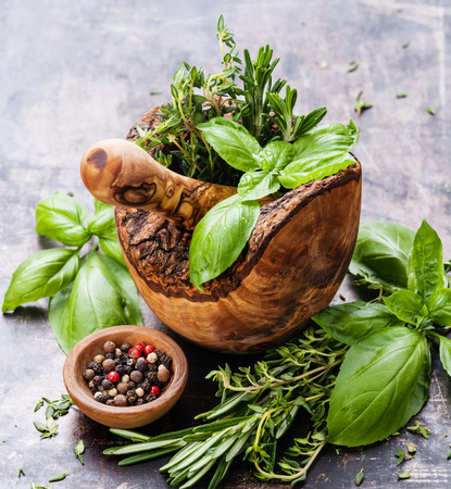 Fresh spicy herbs in olive wood Mortar on dark background Banco de Imagens