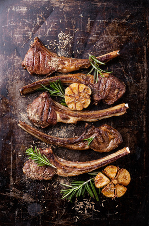 dark meat: Roasted lamb ribs with spices and garlic on dark steel background