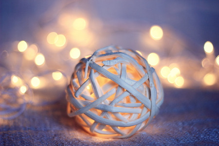 miracle tree: wood wicker Christmas glowing ball and garland
