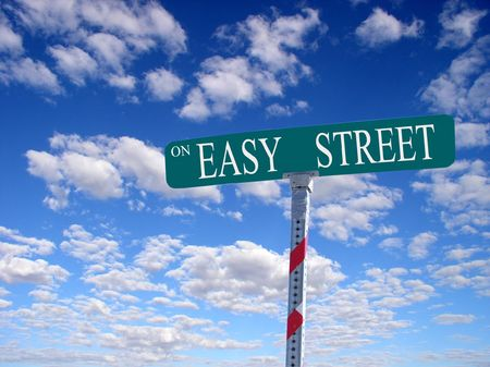 difficult lives: sign that reads On Easy Street