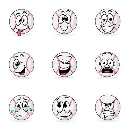 Baseball ball emoticon cartoon bundle vector graphics Vektorgrafik