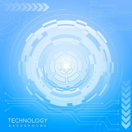 Blue abstract technology background with various technological elements. Innovative concept of high-tech communications. The concept of digital technology and engineering. Vector Illustration