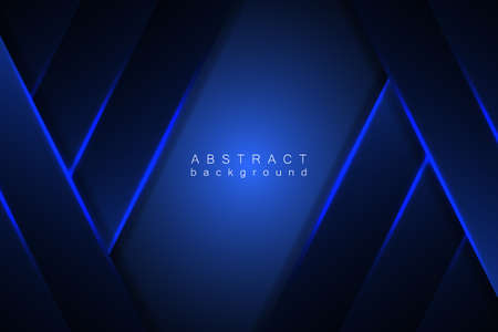 Abstract blue background modern graphic design. Blue geometric shapes, shimmering stripes and lines on a dark gradient. Vektorgrafik