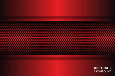 Dark red abstract background with carbon fiber and geometric shapes. Black carbon textured pattern. Red geometric shapes on a carbon grid.