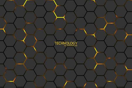 Hexagonal tech vector background. Yellow energy flashes under the hexagon in dark modern futuristic illustration. Black mesh honeycomb texture. Vektorgrafik