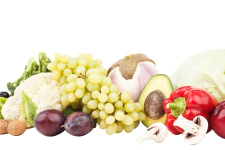ration: Diet concept: Set of multicolored fresh raw vegetables and fruits, isolated