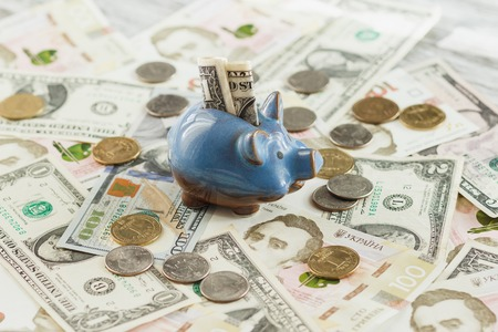 Different collectors coins and banknotes with a piggy bank, wooden background