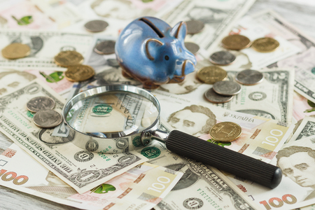 Ukrainian hryvnia and Americans dollars with a piggy bank and magnifying glass, soft focus background