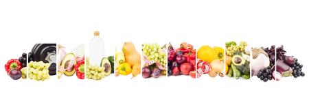 Verschiedene Sätze von Obst und Gemüse, isoliert auf weiß